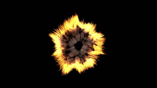 vídeos de stock e filmes b-roll de fire explosion to the camera - em frente de