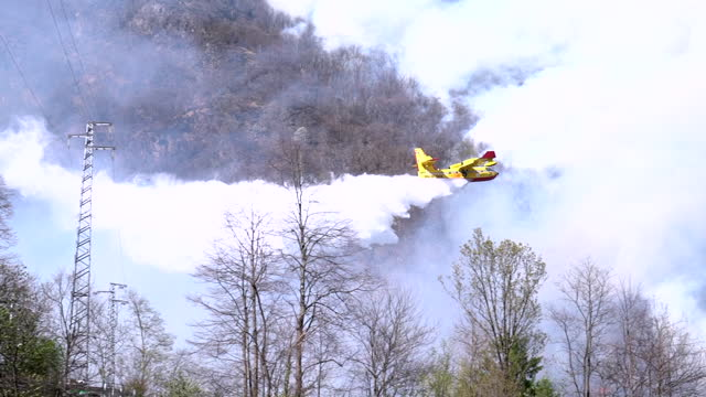 fire fighter aircraft dropping water on a forest fire - italy stock videos & royalty-free footage