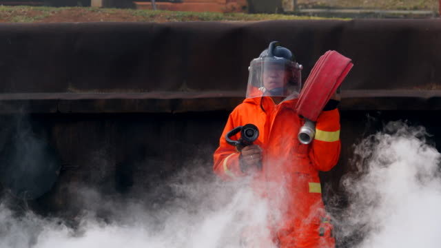 Fire Fighter Practice In Smoke