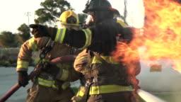 Fire fighting car fire