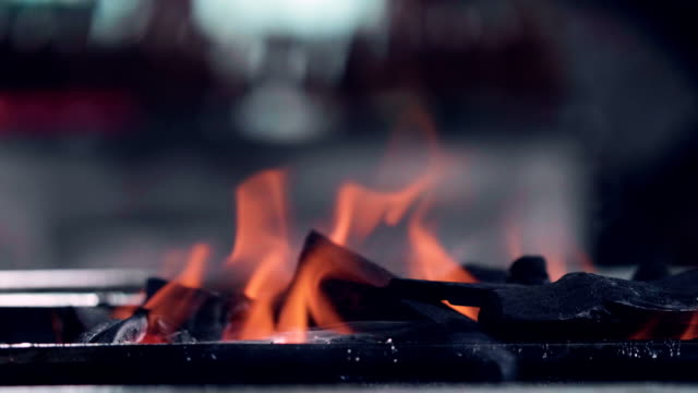 fire flames (slow motion) food street - punjab pakistan stock videos & royalty-free footage