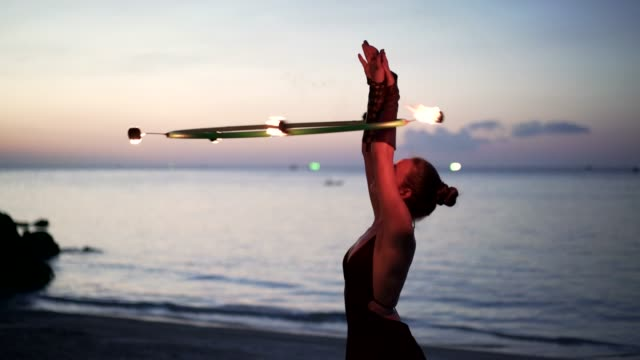 fire hoop spinning - street performer stock videos and b-roll footage