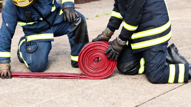 fire hose - county durham england stock videos & royalty-free footage