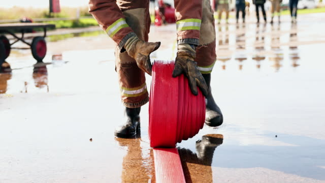 fire hose - darlington north east england stock videos & royalty-free footage