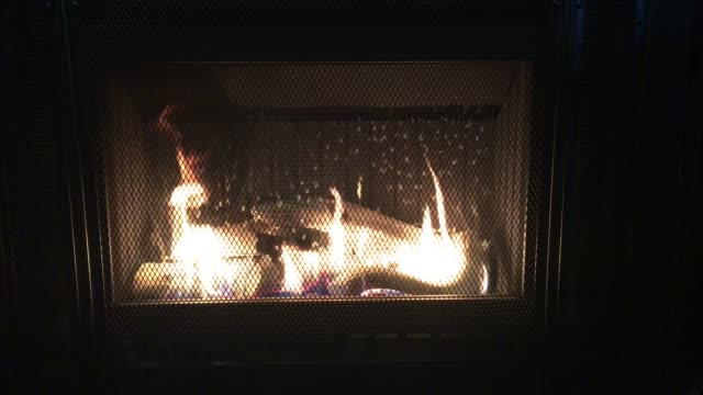Fire in a Fireplace Burning