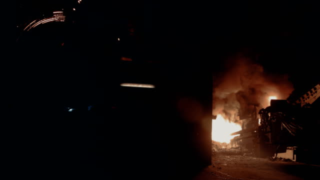 fire in blast furnace at steel mill - blast furnace stock videos & royalty-free footage