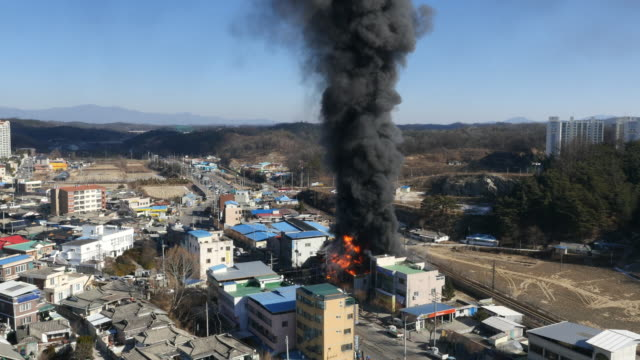 a fire in city / yeongju-si, gyeongsangbuk-do, south korea - rescue worker stock videos & royalty-free footage