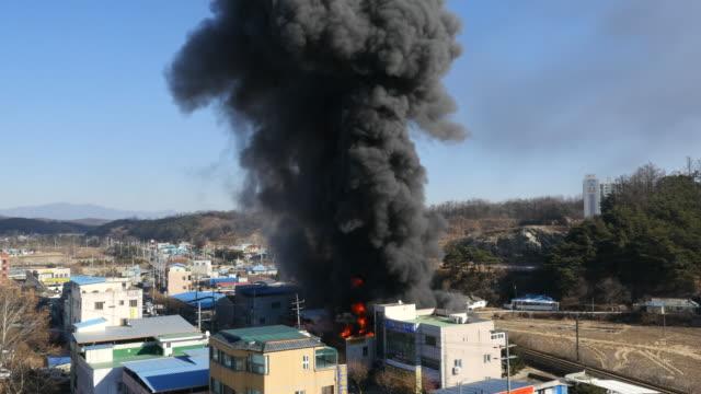 a fire in city / yeongju-si, gyeongsangbuk-do, south korea - misfortune stock videos & royalty-free footage