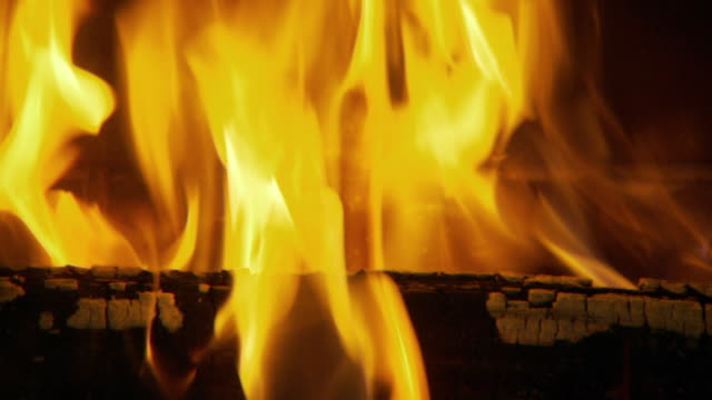 CU Fire in fireplace / Atlanta, Georgia, USA
