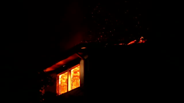 fire in the apartment - burning video stock e b–roll