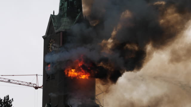 "stockvideo's en b-roll-footage met fire in the roman catholic church of hoogmade on monday november 4 a fire started in the ""onze lieve vrouw geboortekerk"" during painting work the... - kees van den burg"
