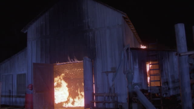 ms, fire in wooden barn at night - barn stock videos & royalty-free footage