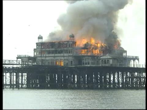 Fire on Brighton's West Pier Brighton GVs Fire raging on West Pier