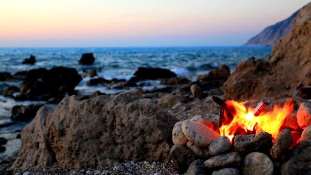 fire on the beach - lägereld bildbanksvideor och videomaterial från bakom kulisserna