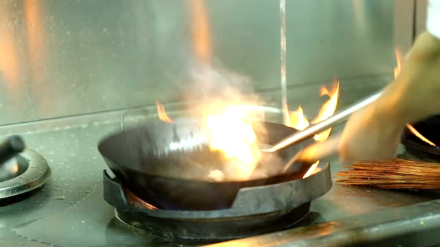 fire on the pan in the kitchen