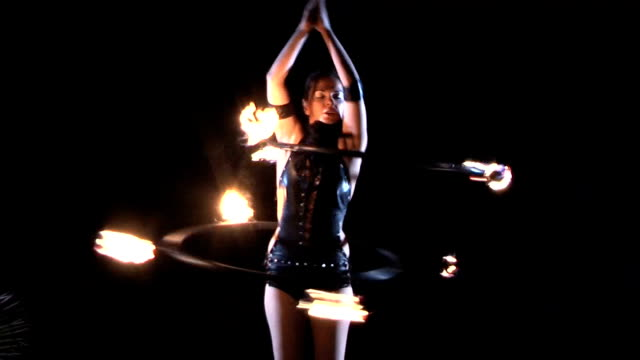 fire performer. fire dance. - circus stock videos & royalty-free footage