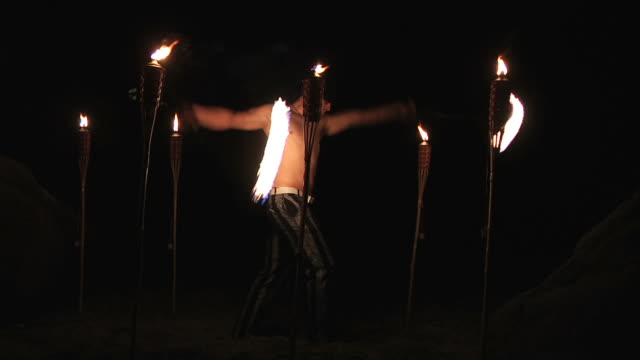 fire poi-low light - one mid adult man only stock videos & royalty-free footage