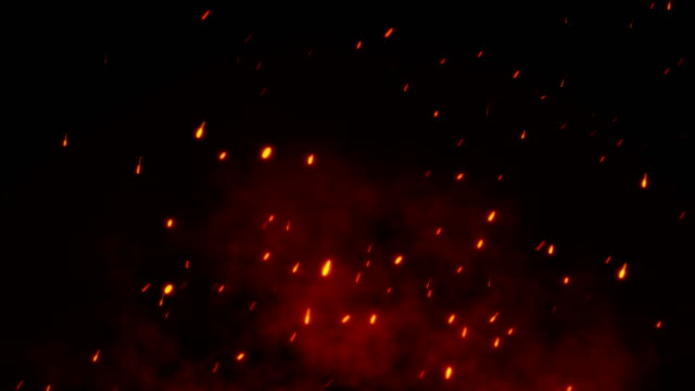 vídeos de stock e filmes b-roll de 4k fire sparkle dots background - flame