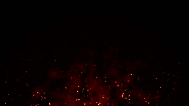 fire sparks background with smoke 4k - cenere video stock e b–roll