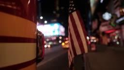 Fire Truck, American Flag, New York, USA