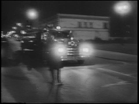 fire truck on city street after race riots at night / detroit, michigan / newsreel - 1967 stock videos & royalty-free footage