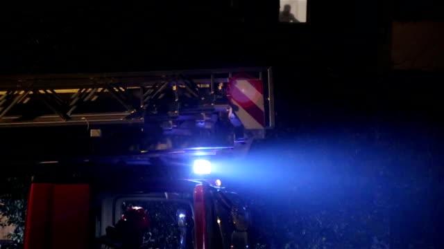 Camion de pompier, d'éclairage clignotant, gros plan