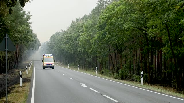 fire trucks and crew make there way towards a smoldering section of forest in southern brandenburg state on august 24, 2018 near klausdorf, germany.... - 消防車点の映像素材/bロール