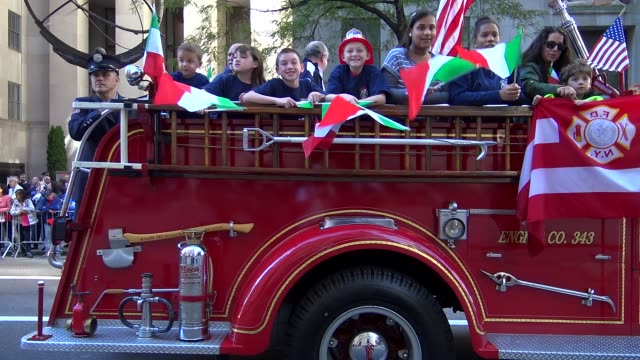fire trucks of the fdny march during the columbus day parade on 5th avenue midtown manhattan new york city usa - fire department of the city of new york stock videos and b-roll footage