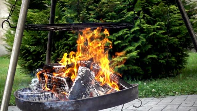 fire - grigliare video stock e b–roll