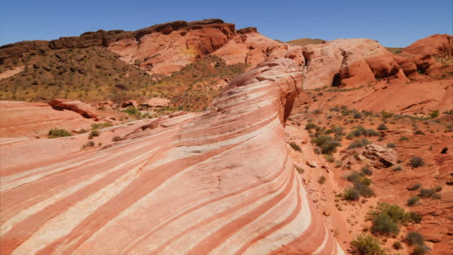 fire wave rock formation at valley of fire state park in nevada - rock formation stock videos & royalty-free footage