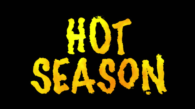 """""""hot season"""" fire words with alpha channel. loop 45 seconds. - poster template stock videos and b-roll footage"""