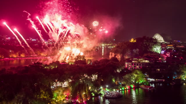 Fire work over Guilin sky line /Guilin,China
