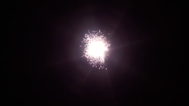 ms fire works explosion in sky at night - sparks stock videos & royalty-free footage