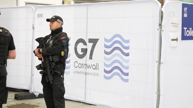 firearms police at the g7 summit on june 10, 2021 in unspecified, . uk prime minister, boris johnson, will host leaders from usa, japan, germany,... - weaponry stock videos & royalty-free footage