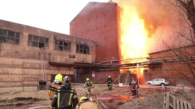 firefighter was killed, two more injured in a big fire at a business center in russia's second-large city of saint petersburg on monday, april 12,... - large stock videos & royalty-free footage