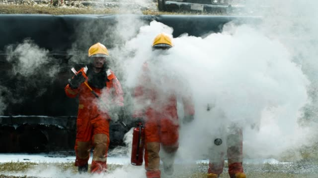 4k : firefighters after fire extinguishing - rescue worker stock videos & royalty-free footage