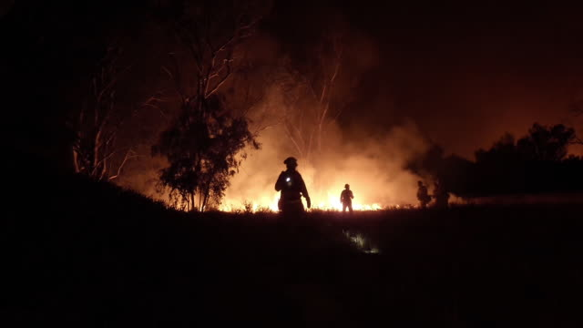 ws firefighters and burning brush fire at night - waldbrand stock-videos und b-roll-filmmaterial