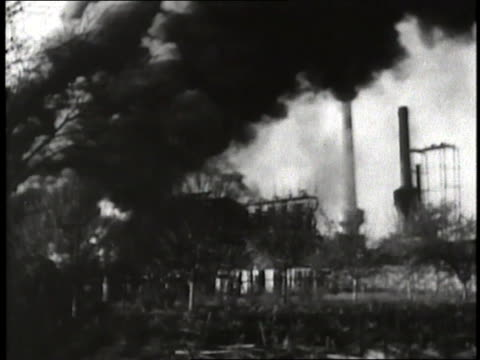Firefighters battle the fires of the Ploesti oil fields