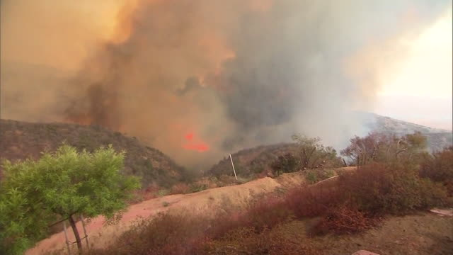 ktla firefighters continued to make progress sunday against a fire burning in the cleveland national forest — with its containment more than... - arson stock videos & royalty-free footage