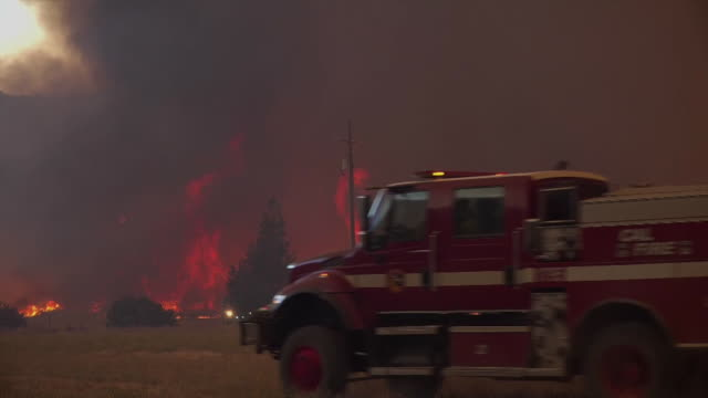 firefighters gather to battle wildfires in mendocino county, california on august 5, 2018. - fire engine stock videos & royalty-free footage
