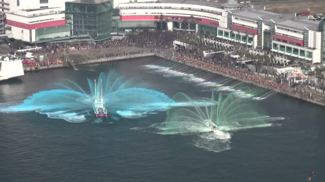 Firefighters in Osaka Japan on January 6 conducted the annual new year's demonstration of their skills The event is literally called dezomeshiki in...
