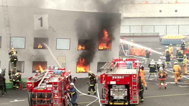 Firefighters in Tokyo Japan on January 6 conducted the annual new year's show of their skills The event is called 'dezomeshiki' in Japanese which...