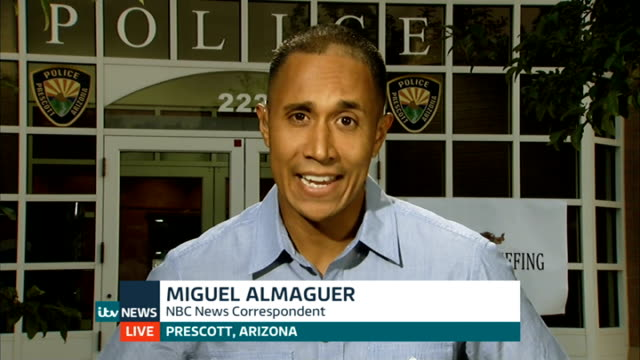 firefighters killed fighting arizona wildfire; england: london: gir: int miguel almaguer live interview sot from prescott, arizona - prescott arizona stock videos & royalty-free footage