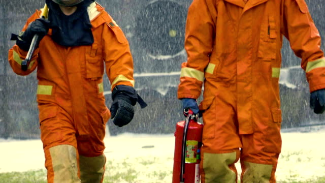 firefighters on emergency scene - safety stock videos & royalty-free footage