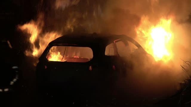 firefighters put out a burning car of jewish settlers that was set on fire by palestinians in the neighborhood of sheikh jarrah on may 06 in east... - car stock videos & royalty-free footage