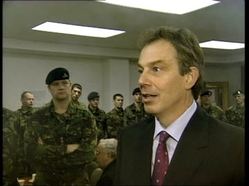 new talks collapse/tony blair in darlington; bbc pool tony blair mp interviewed sot - there are certain changes, like joint control rooms, better... - darlington north east england stock videos & royalty-free footage