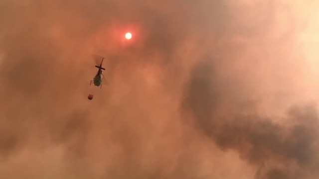 firefighters use a helicopter to battle flames near coffs harbour about 600kms north of sydney as a series of infernos rage across eastern australia - incendio video stock e b–roll