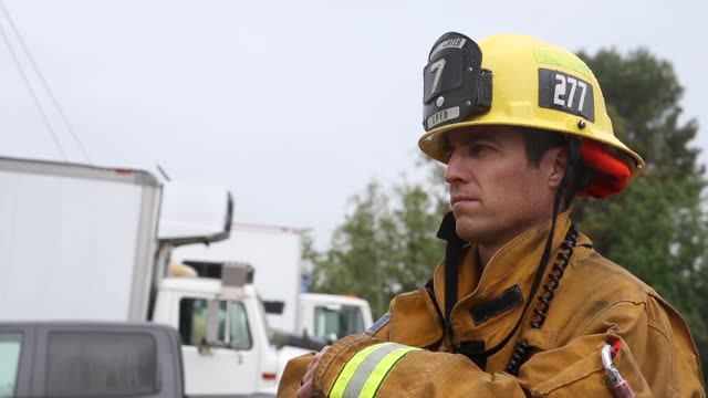 Firefighters with Los Angeles County Fire Department and Fire Station One Camp Pendleton Fire Department conduct a joint fire control training...