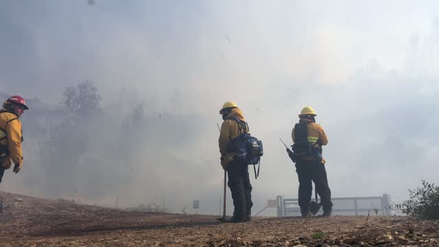 firefighters work to contain the silverado fire in orange county on october 26 in irvine, california. the fire has prompted mandatory evacuations of... - irvine california stock videos & royalty-free footage