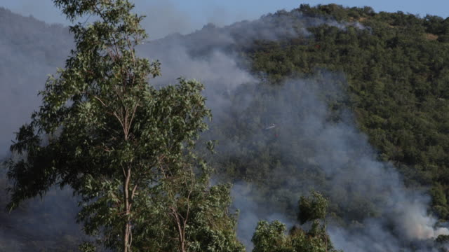 firefighting airplanes and helicopters extinguishing a wild fire in tuscany, italy - incendio video stock e b–roll